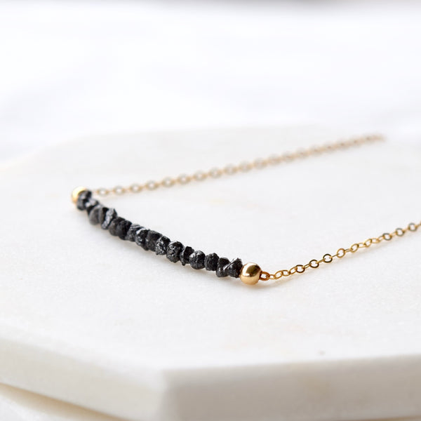 black diamond gold filled necklace