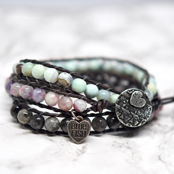 mixed gemstones beaded leather wrap bracelet