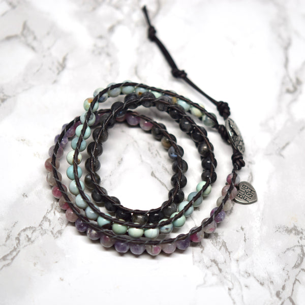 Mixed Gemstones Casual Wrap Bracelet