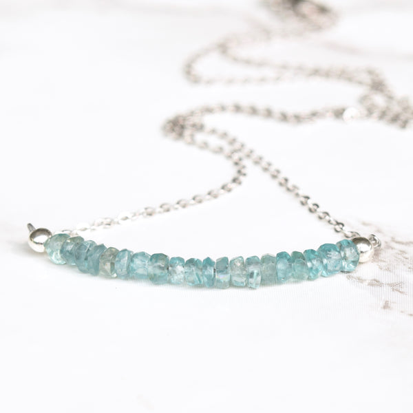 Dainty Blue Apatite & Sterling Silver Gemstone Bar Necklace