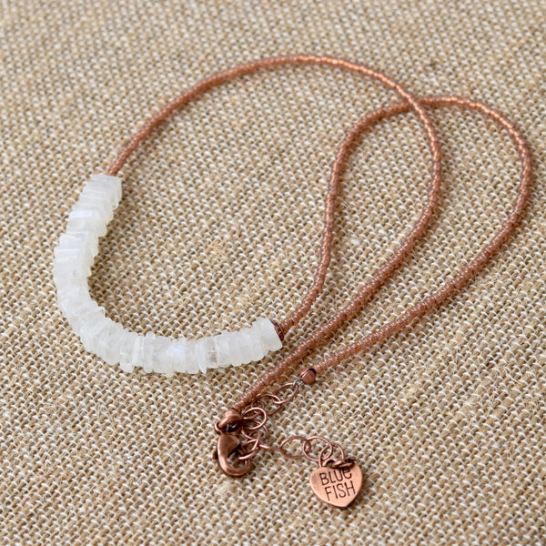 Moonstone & Copper Beaded Boho Necklace