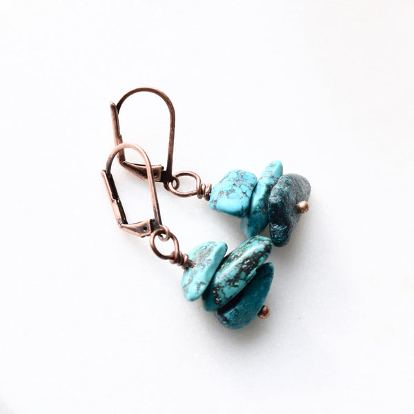 turquoise nugget earrings boho turquoise drops