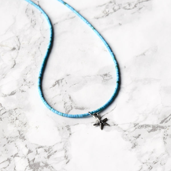 turquoise starfish necklace dainty beaded boho necklace layering necklace