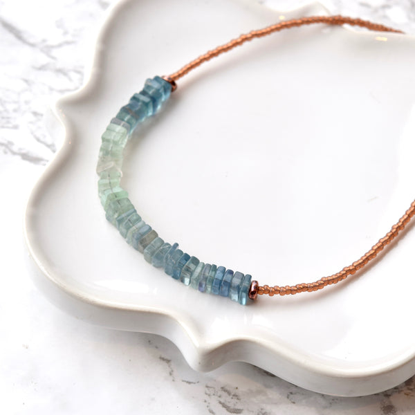 Blue Green Ombre Fluorite Necklace