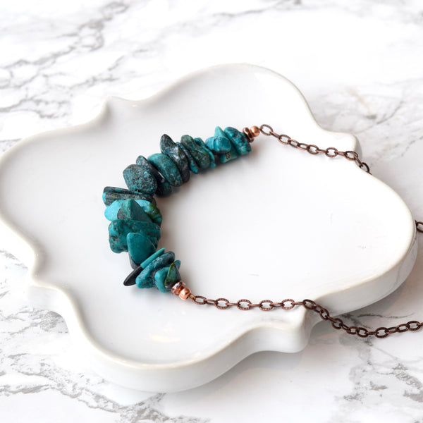 Boho Turquoise Copper Necklace With Copper Chain