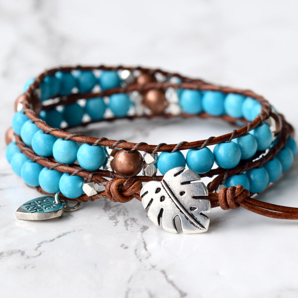 Beaded Turquoise Leather Wrap Bracelet With Monstera Button