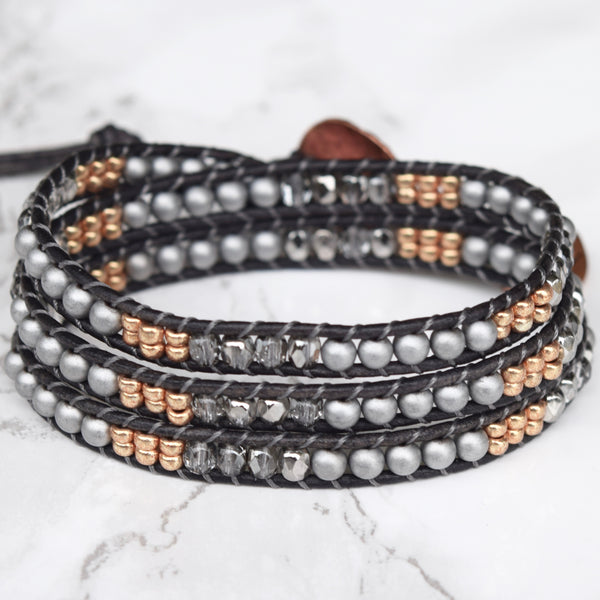 Mixed Metals Leather Wrap Bracelet