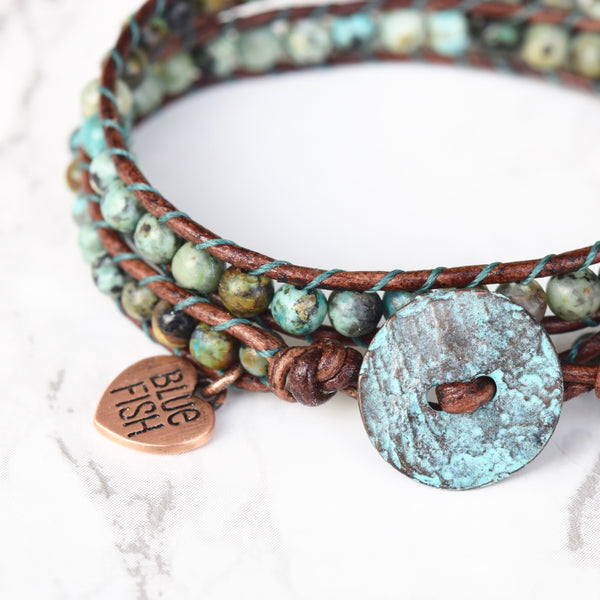 Classic Rustic African Turquoise Wrap Bracelet