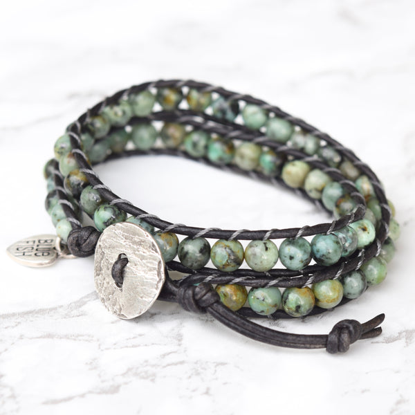 Bold African Turquoise Double Wrap Bracelet