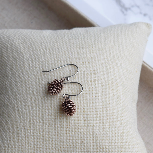 Pinecone Earrings ~ Rose Gold & Sterling Silver