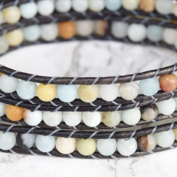 Amazonite 3 Layer Wrap Bracelet