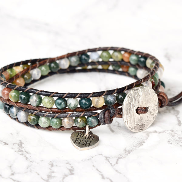 Colorful Fancy Jasper Double Wrap Bracelet