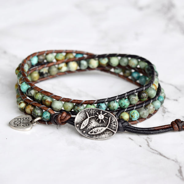 Double Wrap African Bracelet & Fish Button