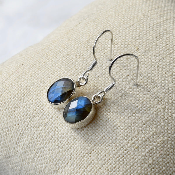 Labradorite Bezel Set Sterling Drop Earrings