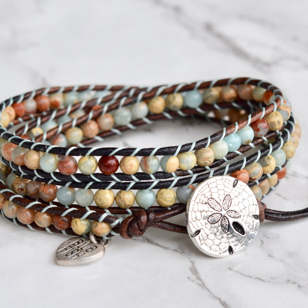 By the Seashore Jasper Wrap Bracelet