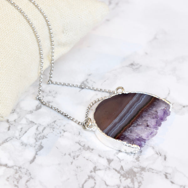 Amethyst Crescent Pendant Necklace ~ Classically Colored