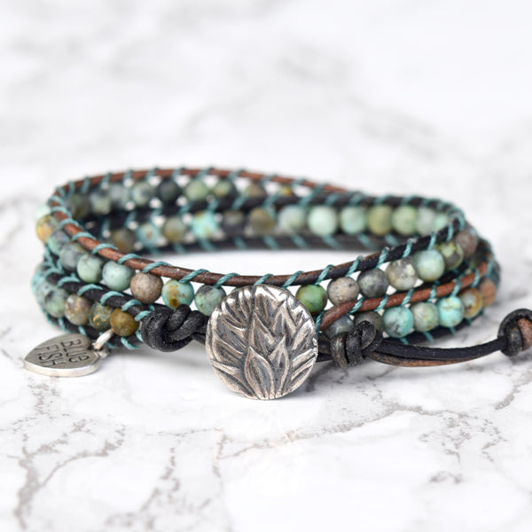 African Turquoise Wrap Bracelet ~ Silver Button