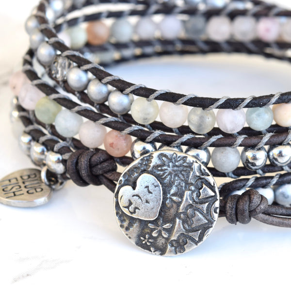 Beryl Morganite, Hematite, and Crystal Mix Wrap Bracelet