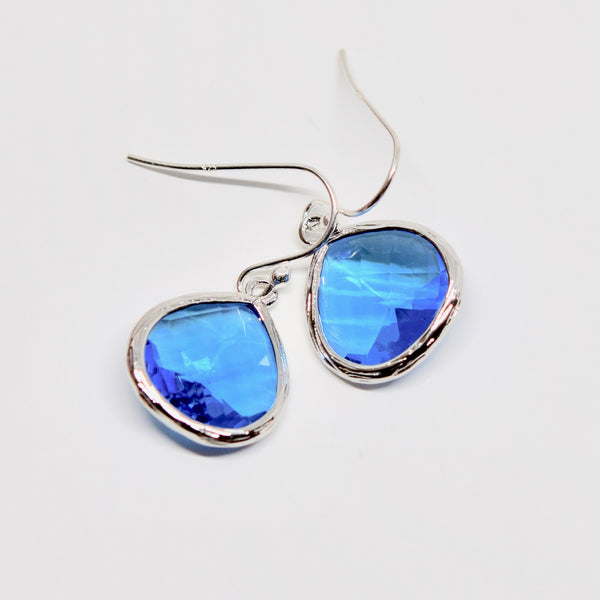 Royal Blue & Silver Crystal Drop Earrings