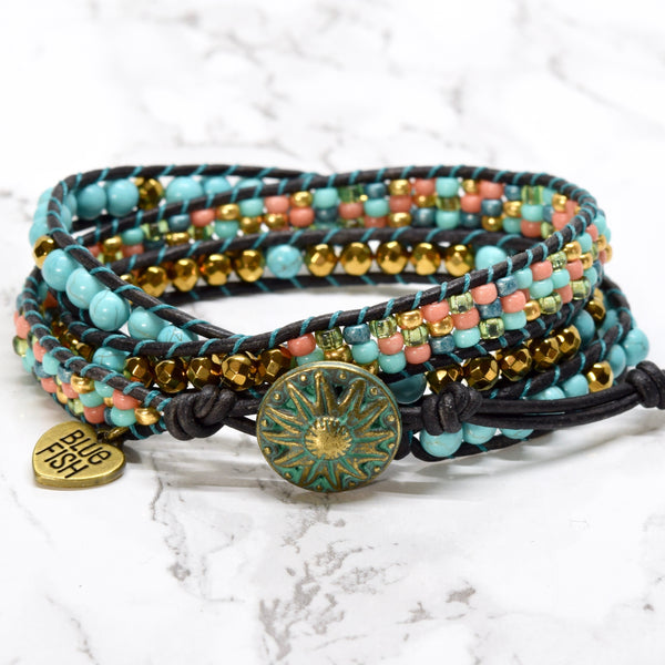 Colorful Turquoise & Gold Boho Beaded Wrap Bracelet
