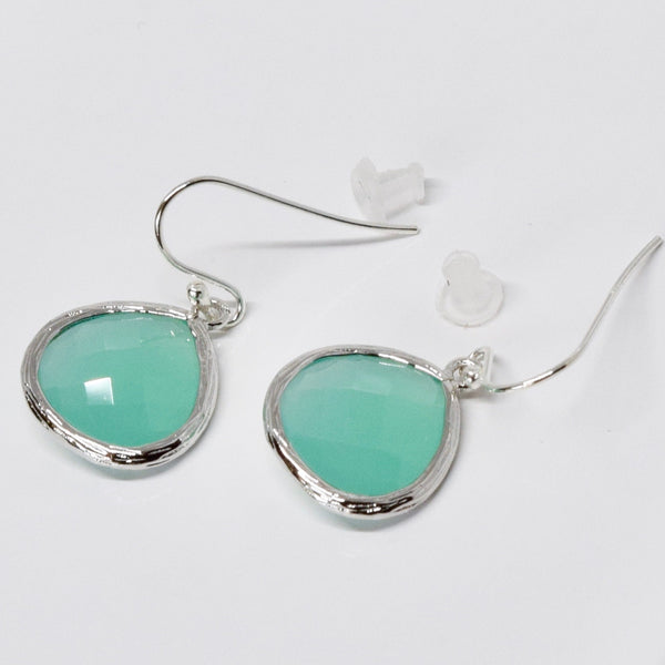 Sparkly Aqua Blue Crystal Drop Earrings
