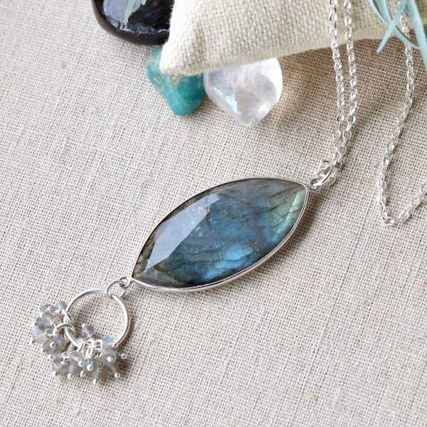 Labradorite Marquise Sterling Silver Statement Necklace