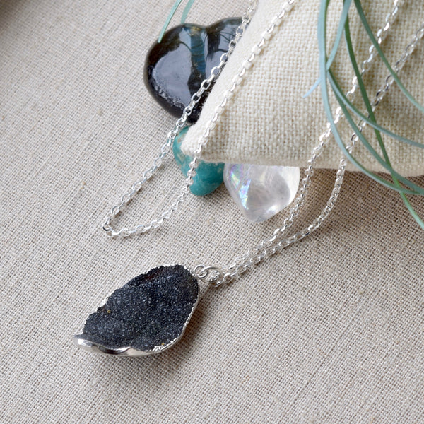 Black Druzy Petal Necklace