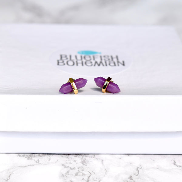 Terminated Point Stud Earrings ~ Choose Your Gemstone