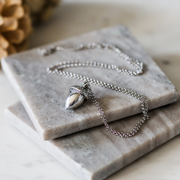 long sterling silver acorn necklace