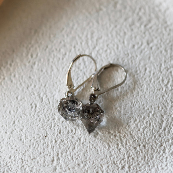 Salt & Pepper Herkimer Diamond Crystal Sterling Drop Earrings