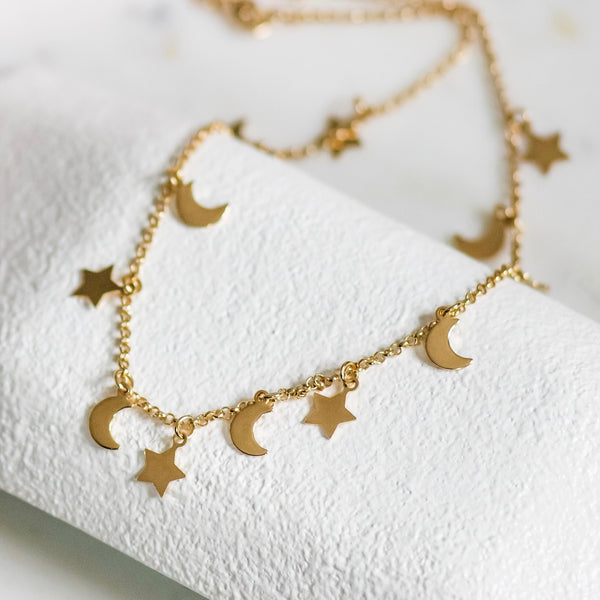 gold moon and stars choker necklace gold filled choker