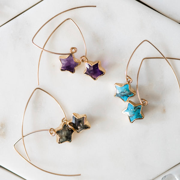 Star Drop Earrings ~ Choose Amethyst, Labradorite, or Genuine Turquoise Gemstones