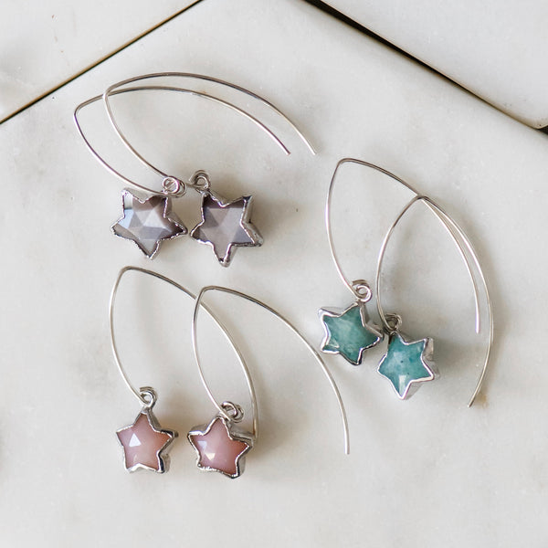 sterling silver heart dangle drop earrings gemstone stars gemstone earrings
