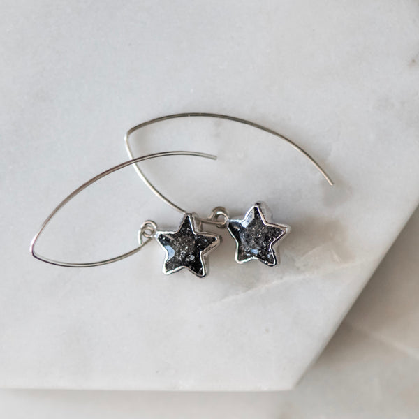 Star Drop Earrings ~ Choose Black Sunstone, Amethyst, or White Moonstone Gemstones