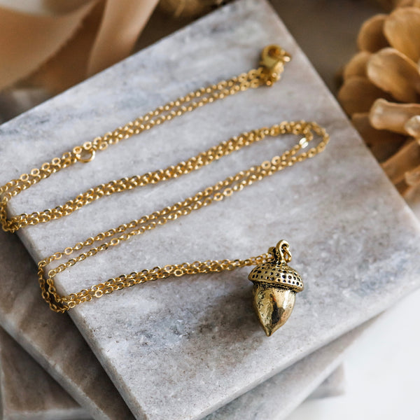 Long Gold Acorn Pendant Necklace