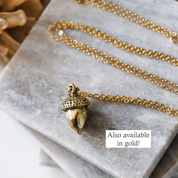 Long Silver Acorn Pendant Necklace
