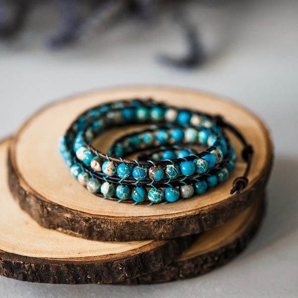 beaded turquoise boho bohemian wrap bracelet leather wrap bluefish bohemian