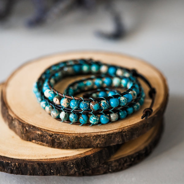 beaded leather wrap bluefish bohemian