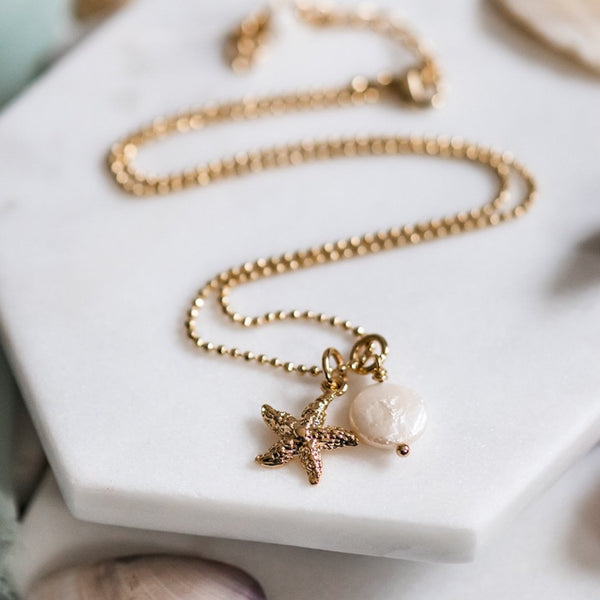 Gold Starfish & Pearl Necklace ~ Gold Filled & Genuine Coin Pearl