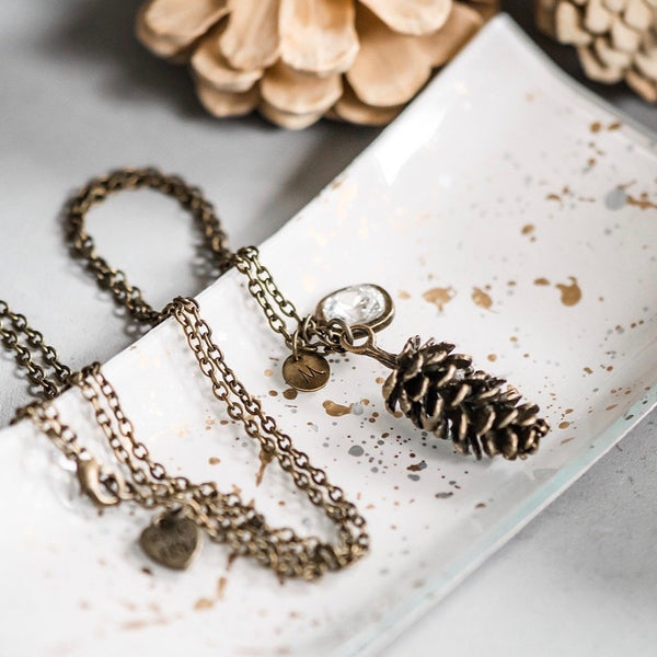 pinecone necklace personalized