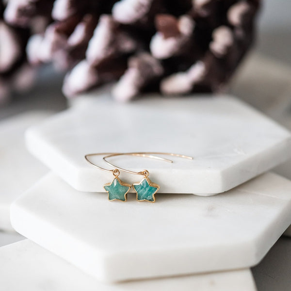 amazonite gold star earrings