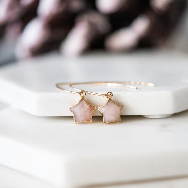 rose quartz earrings gold filled star drops