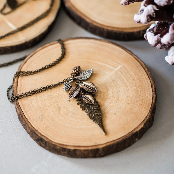 Forest Necklace - Mixed Metals Fern & Leaves