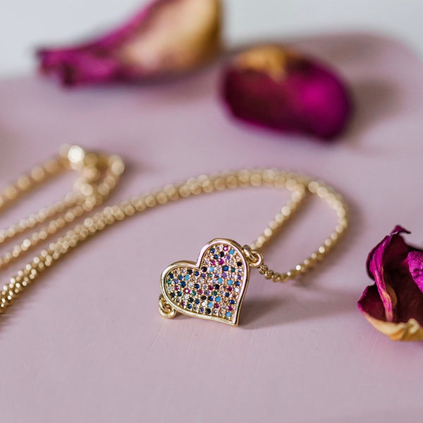 Gold Heart Necklace ~ Sparkly Pave Valentine Heart Pendant
