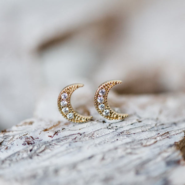 gold moon post earrings