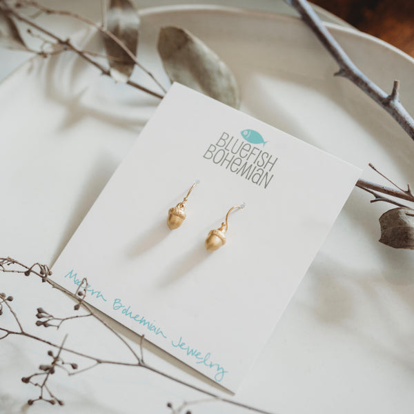 Tiny Gold Acorn Earrings