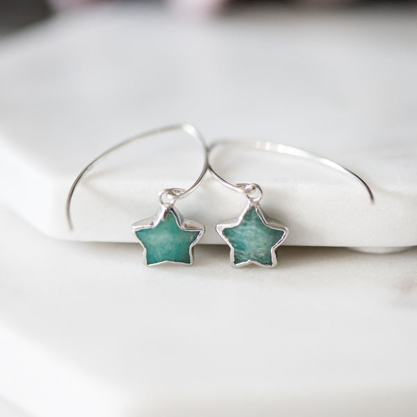 star drop earrings amazonite sterling silver star earrings
