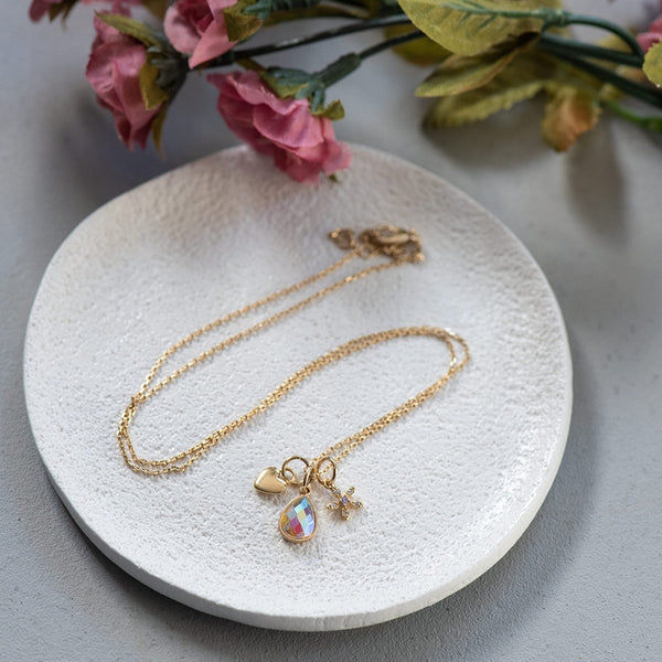 Gold Bezel Teardrop Crystal Charm Necklace