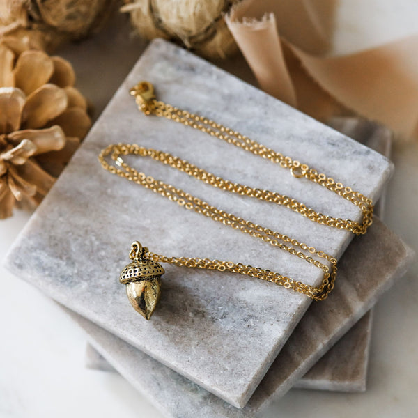 long gold acorn necklace