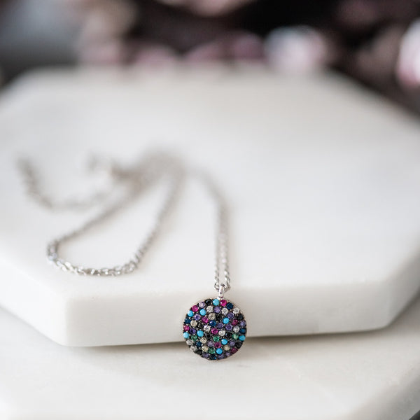 Dot Necklace ~ Pretty Pave Colorful Crystal & Sterling Silver Necklace